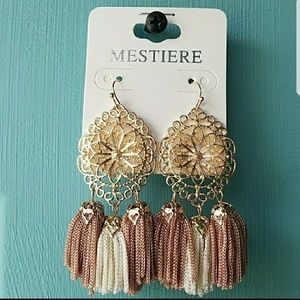 Jewelry - Ivory and Pink Tassel Filagree Earrings